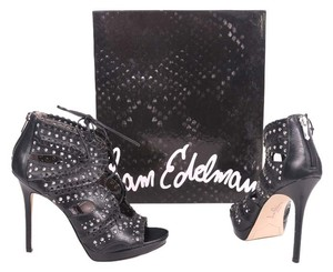 Sam Edelman Elyse Stud Studded Cutout Cut Out Leather Studs Edgy Rocker Chic Punk Stiletto High Heel Heels Sandals Peep Ope Toe Black Boots