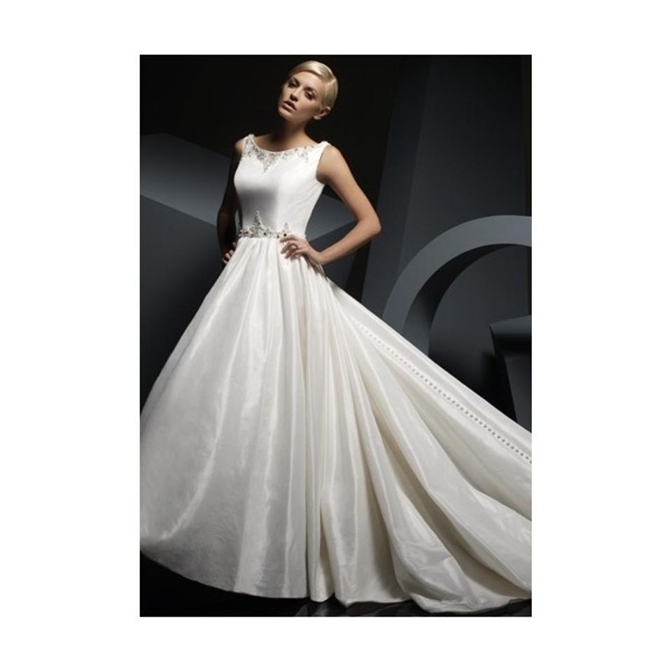 Alfred Angelo Ivory Taffeta 2389 Traditional Wedding Dress Size 8 (M ...
