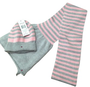 Tommy Hilfiger Pink and Gray Stripe Hat and Scarf Set