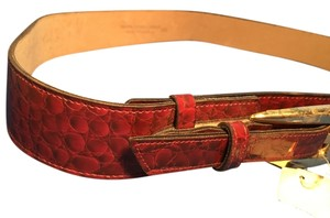 NWT Leather Red Brown Belt Size Medium Large Made USA Adjustable 38
