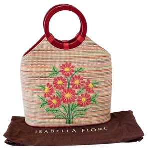 Isabella Fiore Straw Floral Sequence Hobo Tote in Multi-Color