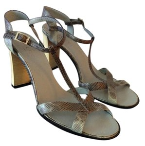Gucci Pewter snake skin Sandals