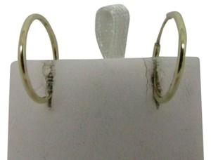 14K Solid Yellow Gold Plain Front and Diamond Cut on the SidesHoop Earring