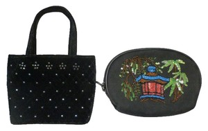 Isabella Fiore ISABELLA FIORE BLACK SET OF VELVET SMALL PURSE & BLACK COTTON COIN WITH SEQUINS