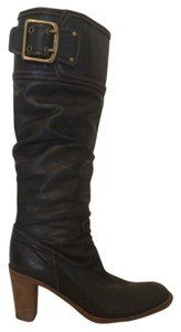 Coach Leather Logo Boot Black Boots