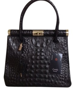 Ore10 Embossed Leather Turnlock Satchel in Black