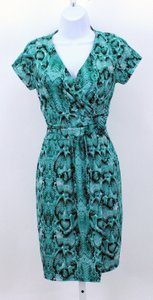Carmen Marc Valvo Snake Ss Faux Wrap B300 Dress