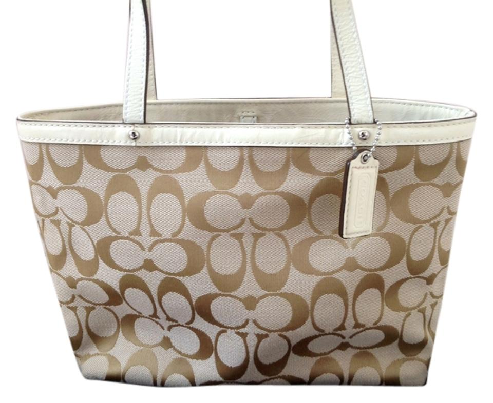 f07e6019e78a ... hot coach signature patent leather tote in khaki 65195 3f921 ...