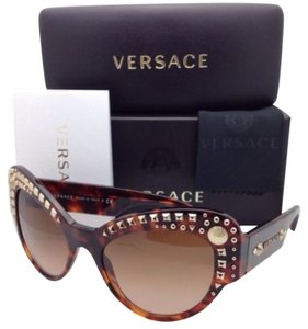 Versace New VERSACE Sunglasses VE 4269 5074/13 Havana Cat Eye Frame / Brown Lens / Studs