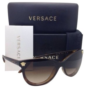 Versace New VERSACE Sunglasses VE 4266 108/13 Havana Cat Eye Frame w/ Brown Gradient Lenses