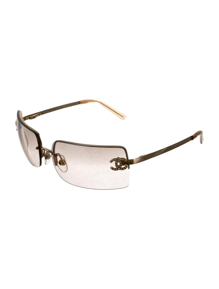 67bdae3b77ef4 Chanel Chanel 4104 B CC Logo Gold Brown Square Rimless Frameless Classic  Timeless Crystal Swarovski Image. 123456789101112