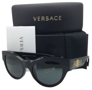 Versace VERSACE Sunglasses Black & Gold Frame with Grey Lenses
