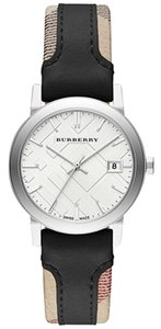 Burberry NWT Burberry Swiss The City Haymarket Check and Black Leather Strap Watch BU9150
