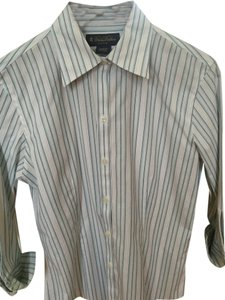 Brooks Brothers Cotton Classic Business Shirt Button Down Shirt Blue and white stripe