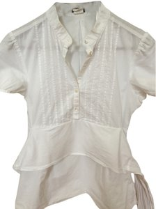 J.Crew Bow Cotton Short Sleeve Top White