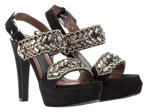Marni Embellished Heel Embellished Heel Leather Suede Platform Wedding Heel Black Sandals