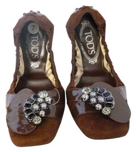 Tod's Suede Leather Contrast Ballerina Brown Flats