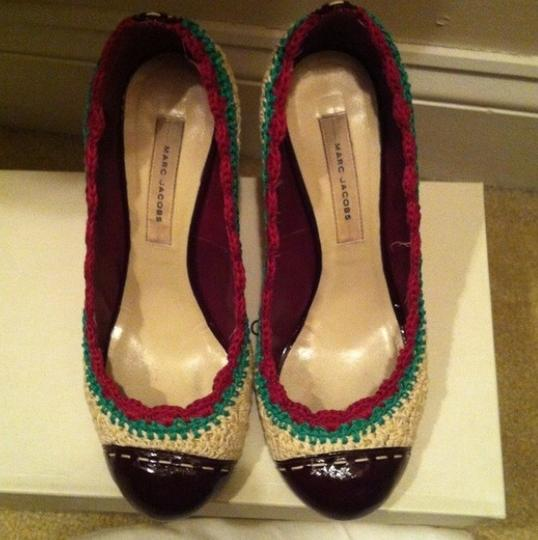 Marc Jacobs Cream, Turquoise And Magenta Pumps