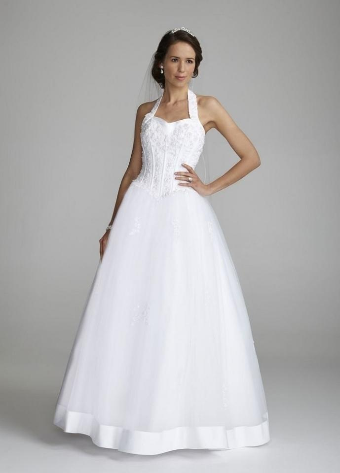 David 39 s bridal halter sweetheart tulle ball gown style for Halter ball gown wedding dresses