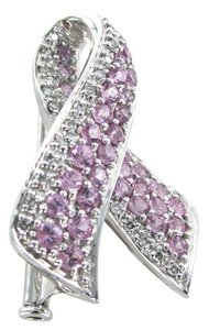 Other 14K KARAT SOLID WHITE GOLD PIN BROOCH BREAST CANCER AWARENESS DIAMOND 4.5 G HOPE