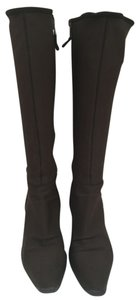 Prada Knee High Neoprene Fabric Stretch Fitted brown Boots