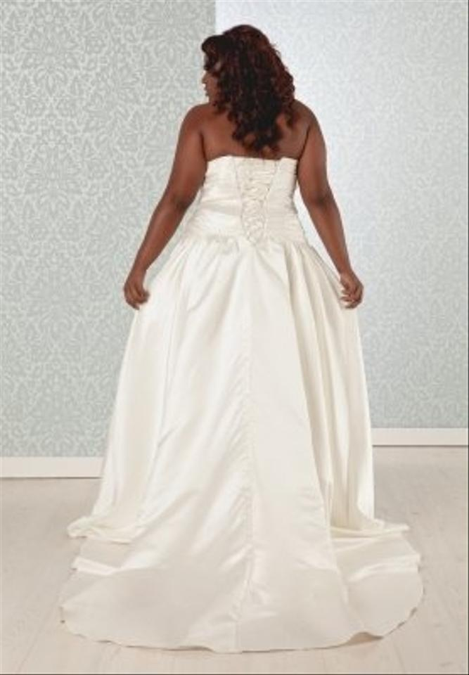 Charlotte plus size satin ball gown ruched swee wedding for Wedding dresses size 18 plus