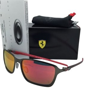 Oakley New OAKLEY Sunglasses Scuderia FERRARI Edition TINCAN CARBON OO6017-07 Gunmetal-Red Frame w/Red Iridium lenses