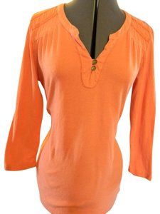 Ruff Hewn 3/4 Sleeve Cotton Vneck Buttons T Shirt Orange