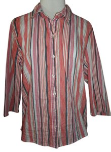 Breckenridge Shirt Button Front 3/4 Sleeve Button Down Shirt Multi