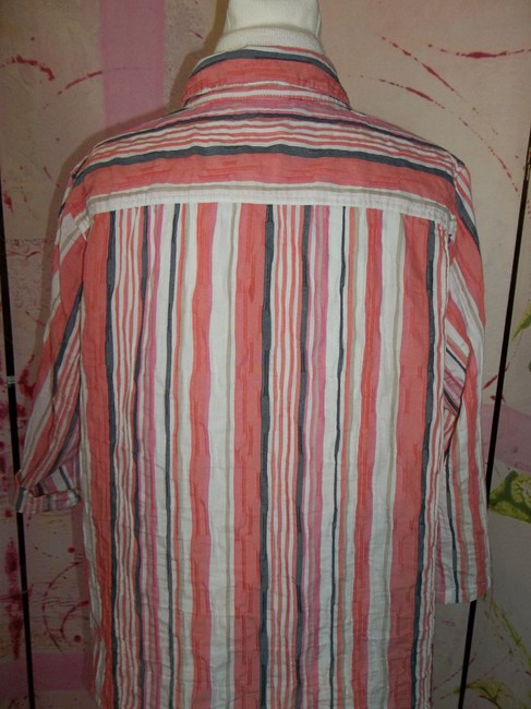Breckenridge Button Front 3/4 Sleeve Striped Xlarge Cotton Blend Button Down Shirt Multi