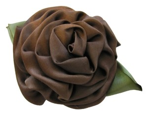 Other Silk Flower Brooch, Green and Chocolate Brown