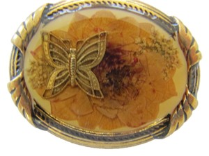 Victorian Era Styled Brooch, Pressed Flowers and Butterfly