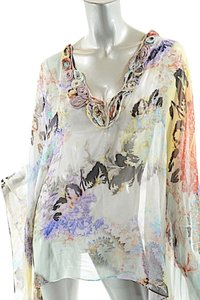 Other ETRO Milano Multi 100% Silk Floral/Paisley Chiffon Cape w/Rosettes- FAB -26