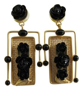 Other Gold and Black Synthetic Composite Rose Drop Post Earrings