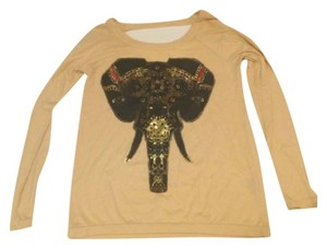 Chaser Elephant Long Sleeve J.crew T Shirt Cream