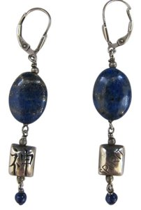 Hand Made by Mr. Shasta area crafter Handmade Silver & Lapis Stone Dangle Drop Leverback Earrings