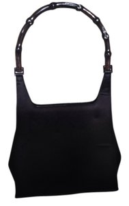 Gucci Satin Lucite Bamboo Handle Evening Satchel in Black