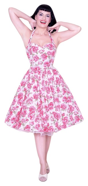 Item - White and Pink Belle Halter Rose Floral Print Mid-length Short Casual Dress Size 8 (M)