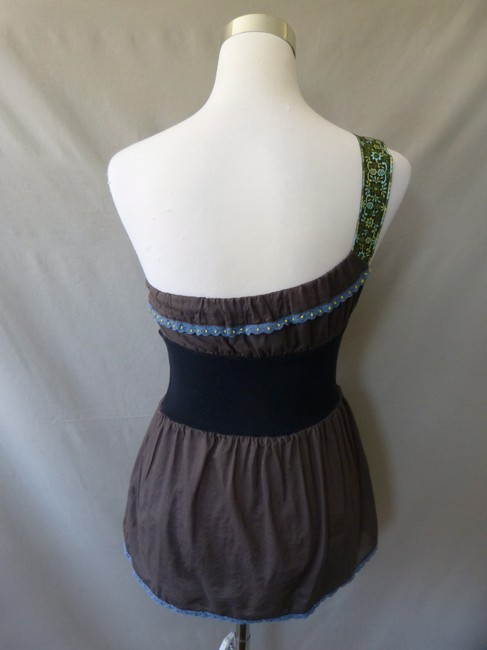 Free People Elastic Waist Green Ribbon Strap Top