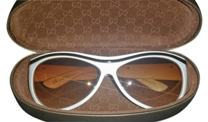 Gucci Gucci white with metallic gold sunglasses