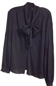 Ann Taylor Pleats Tie-front Pleated Top Navy