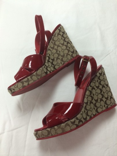 Coach Red Patent With Coach Sig Brown And Tan Wedge Wedges