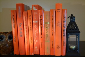 Vintage Style Books - Orange 101 - Set Of 10