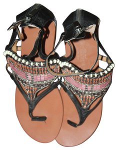 Nine West Black Beaded Sandals