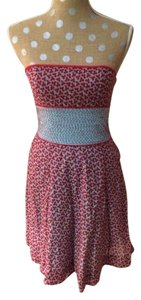 Free People short dress Strapless Red Floral on Tradesy