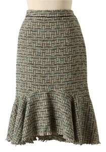 Anthropologie Skirt Green Motif