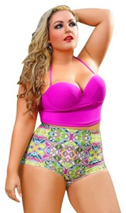 Perfect Silhouettes Multi-Colored Swimsuit's high waist.