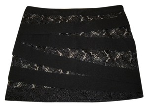 bebe Skirt Black with Nude Lace