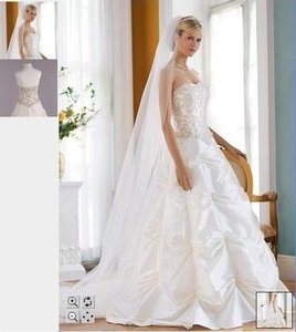David's Bridal Lace Beaded Bodice Gown With Cinched Taffeta Skirt Wedding Dress