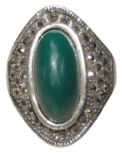 Other Antiqued Diamante Green & Silver Ring Free Shipping